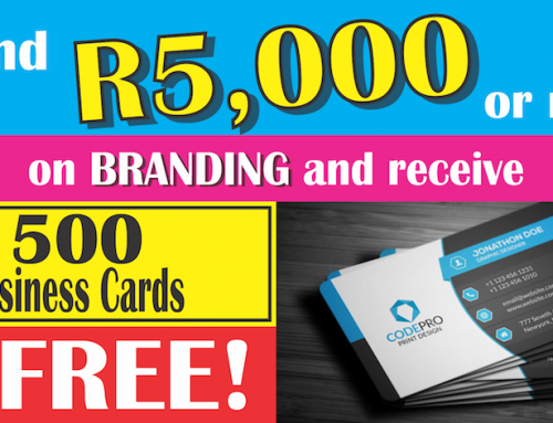 Free business cards if you spend R5000 or more on Branding